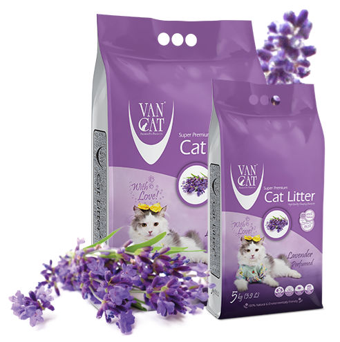 Arena para gato aglomerante con aroma a lavanda