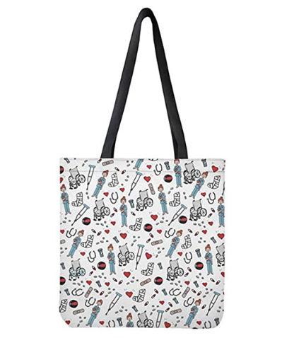 Bolsa de lona de algodon con estampado de dibujos de enfermeria