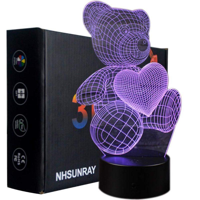 Lámpara de mesa 3D Osito con corazón
