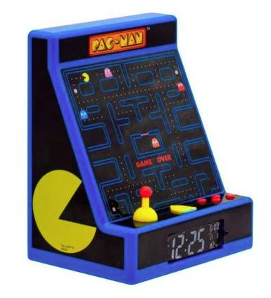 Lámpara despertador con luz LED que imita una máquina recreativa de Pac Man