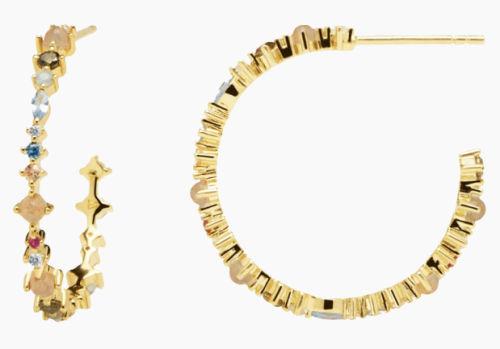 Pendientes de plata con acabado en oro Halo de P de Paola