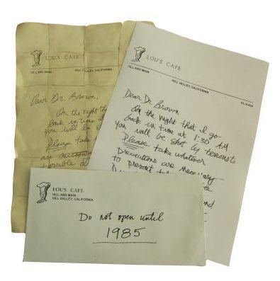 Réplica de la carta que le escribió Marty McFly a Doc Brown en Regreso al Futuro