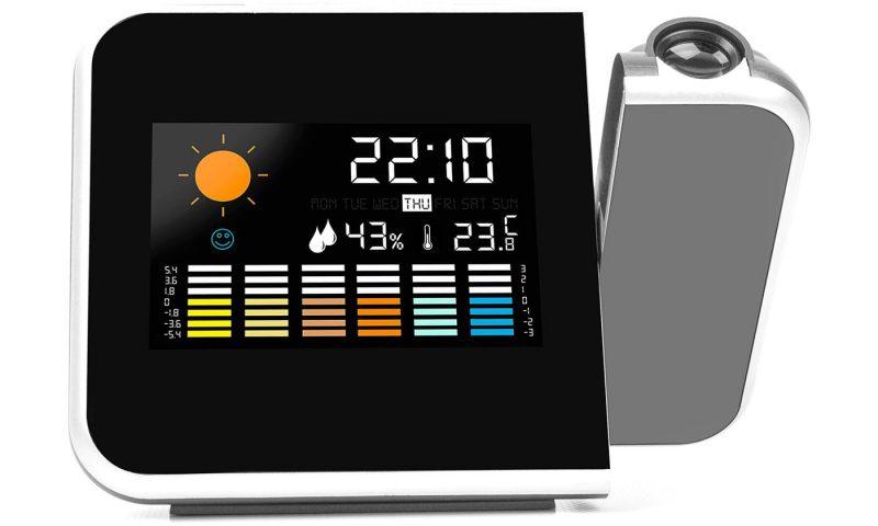 Reloj despertador con proyector LED y estación meteorológica