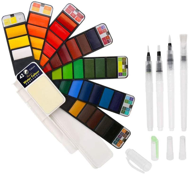 Set de pintura con acuarelas BBLIKE de 42 colores con 4 pinceles