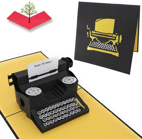 Tarjeta de felicitacion de cumpleanos con maquina de escribir en 3D PopLife