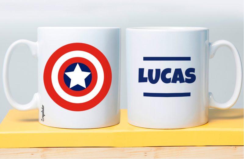 Taza personalizada Capitán América Hulk con el mensaje que quieras