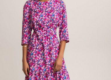 Vestido corto con mangas 3 4 estampado floral de La Redoute Collections