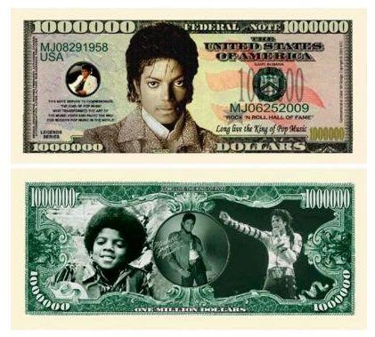 billete de dolar de michael jackson