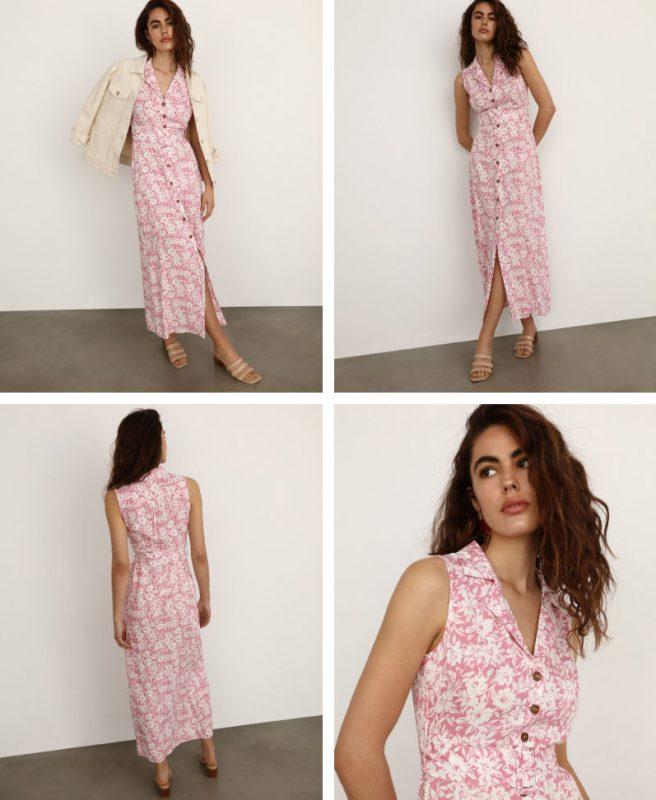 vestido largo estampado sin mangas
